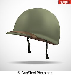 Side view of Military US helmet M1 WWII - Military US green...