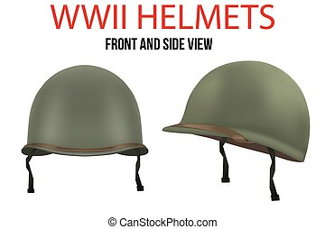 Side view of Military US helmet M1 WWII - Set of Military US...
