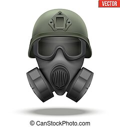Military tactical helmet with gas mask - Military tactical...
