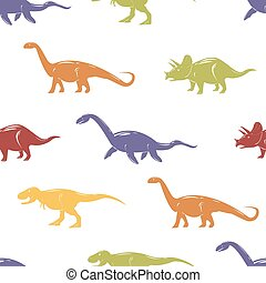 Seamless pattern with colorful dinosaurs on white background.