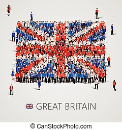 Large group of people in the Great Britain flag shape -...