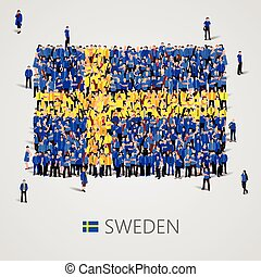 Large group of people in the Sweden flag shape - Large group...
