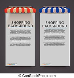 Store striped awning modern banner. Vector illustration