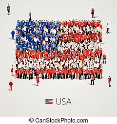 Large group of people in the USA flag shape - Large group of...