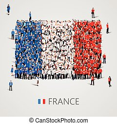 Large group of people in the France flag shape. - Large...