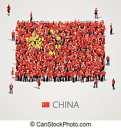 Large group of people in the China flag shape - Large group...