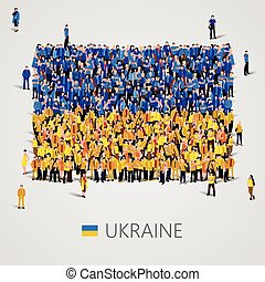 Large group of people in the Ukraine flag shape - Large...