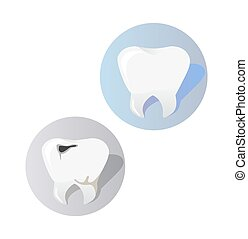 Healthy and Diseased Tooth Design Cartoon