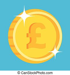 Vector gold coin icon british pound - Vector gold coin icon...