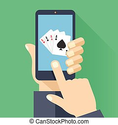 4 aces playing cards on smartphone