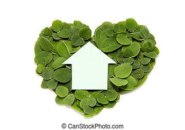 edificio, hogares, Más verde, corazón, casa