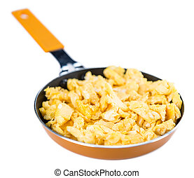 Scrambled Eggs in a Pan isoalted on white - Portion of...