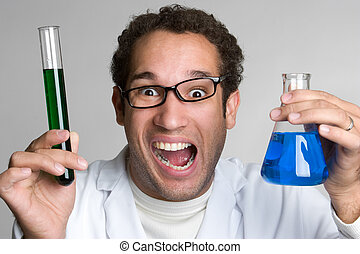 Mad Scientist - Mad scientist holding chemicals