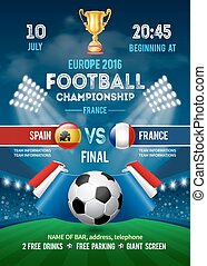 Football championship poster template - Poster template with...
