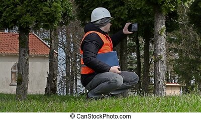Building inspector take pictures on tablet PC near tree