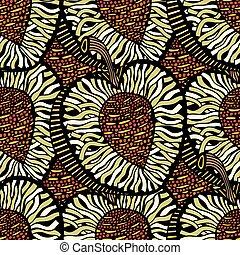 doodle waves and lines - Seamless patterns with hand-drawn...