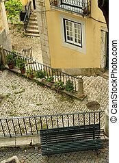 idyllic courtyard in beautiful Alfama - place in old Alfama...