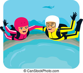 People sky diving - Sky diver couple illustration