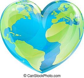Earth Day Heart - An Earth world globe in a heart shape,...