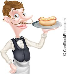 Cartoon Waiter Butler Holding Hotdog - An Illustration of a...
