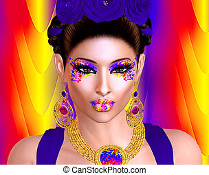 Colorful Latin woman digital art