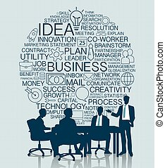 Business meeting with icon background
