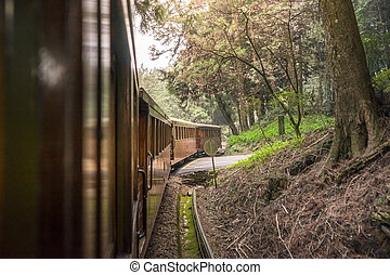 Old train on railway in Alishan National Scenic Area - Old...