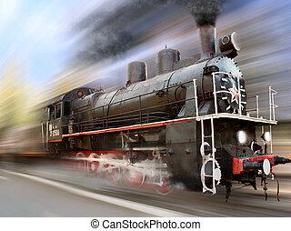 locomotive in motion blur - steam engine, locomotive in...