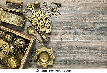Vintage brass table ware antique kitchen utensils - Vintage...