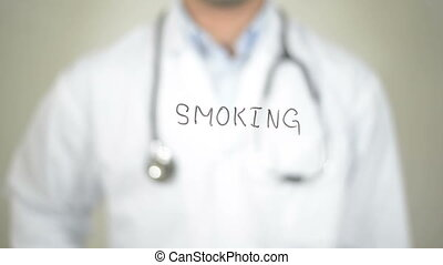 """No to Smoking, Doctor writing on transparent screen"""
