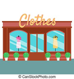 Clothes shop and store, building front flat style. Vector...