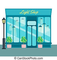 Light shop and store, front icon flat style. Vector...