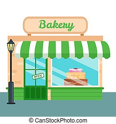 Bakery Shop, stores front icon flat style. Vector...
