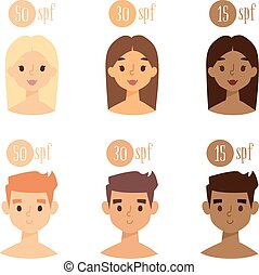 Vector faces with skin tone spf - Vector set faces with skin...