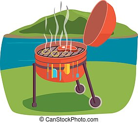 Outdoor grill vector illustration - Grill BBQ vector and...