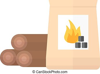 Firewood and charcoal vector illustration - Firewood and...