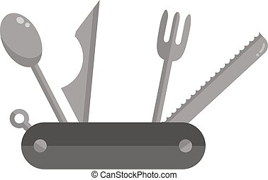 Camping travel jackknife isolated on white - Camping travel...