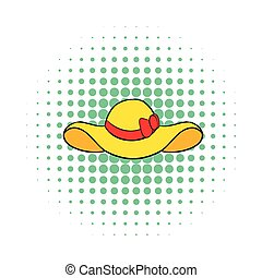 Beach hat icon, comics style - Beach hat icon in comics...