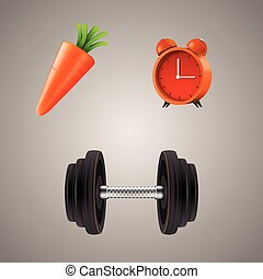 Set of sport diet illustrations Clean vector