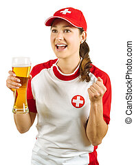 Swiss sports fan cheering with beer