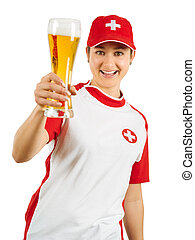 Happy Swiss sports fan cheering with beer