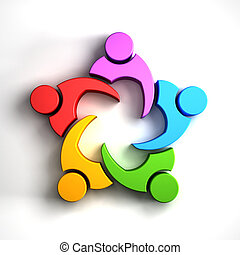 People Family logo - Group of people in a circle. Meeting...