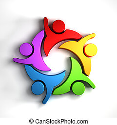 Happy Teamwork 5 group of people logo graphic
