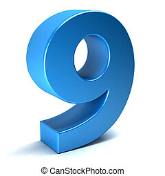 Number Nine 9 blue .3D rendering - Number Nine 9 color blue...