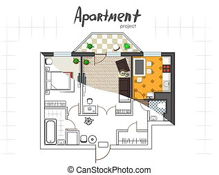 apartment project top view - Apartment project Floor plan...