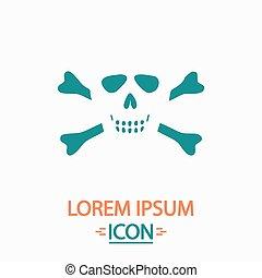 Skull crossbones computer symbol - Skull crossbones Flat...