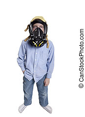toxic air - young boy wearing a gas mask