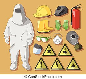 Protective clothing and equipment - Set of tools, signs and...