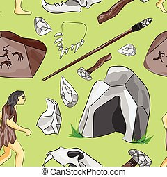 Prehistoric stone age icons set pattern presenting life of...