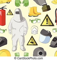 Protective clothing and equipment pattern - Set of tools,...